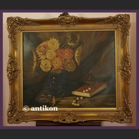 Stary obraz olejny piękne malarstwo martwa natura