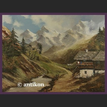 Stary obraz olejny Tyrolski krajobraz olej na płótnie