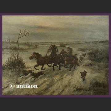 Obraz olejny Polowanie na wilki Willy Franken