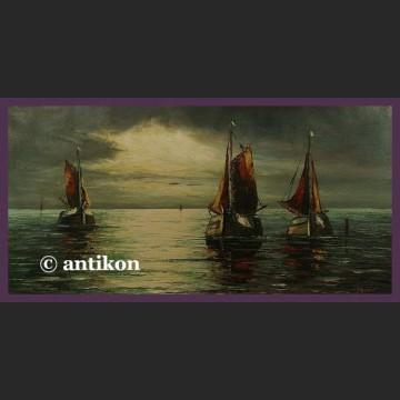 Obraz olejny marynistyczny Łodzie i morze