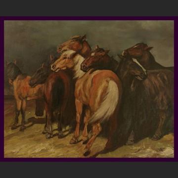 Obraz olejny piękne płótno Stado koni