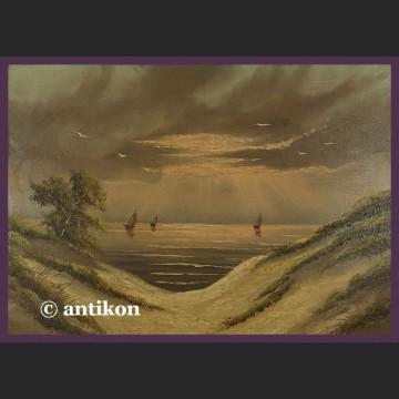 Stary pejzaż Sielska plaża sygnowany obraz olejny