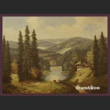 Olej na płótnie Górskie jezioro duży pejzaż