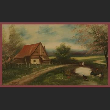 Obraz olejny Sielski pejzaż na wsi domostwo
