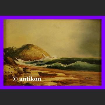 Obraz olejny Impresja na plaży w złotej ramie