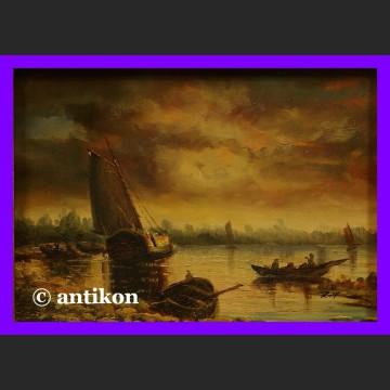 Obraz olejny holender Nokturn w ozdobnej ramie marynistyka