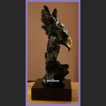 Piękny orzeł duża ciężka rzeźba prawdziwy brąz trofeum
