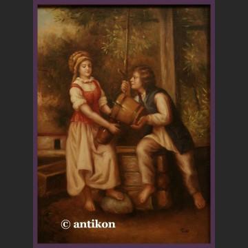 Obraz olejny staropolski Przy studni