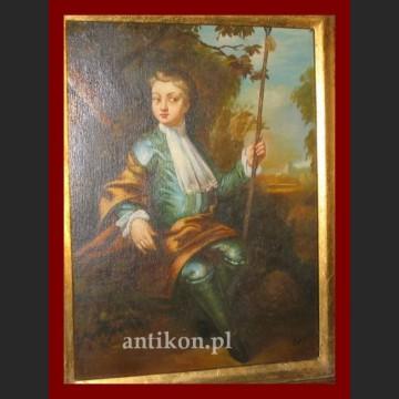 Obraz olejny na desce portret arystokarty