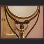 stylowe secesyjne stojace lustro z brazu z figura kobiety