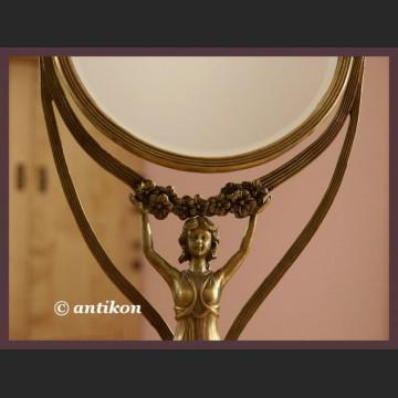 Stylowe lustro figuralne duże i piękne z brązu secesja