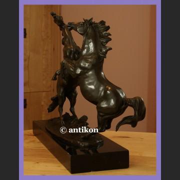 Wspaniała ogromna rzeźba kominkowy brąz dwa konie koń