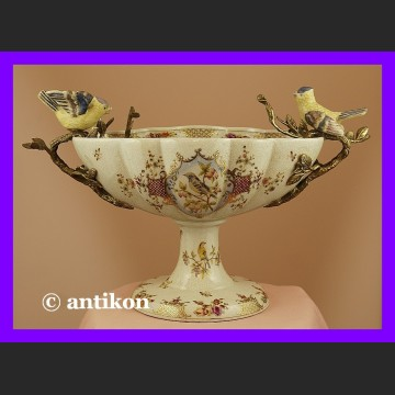 Królewska ogromna patera z ptaszkami porcelana