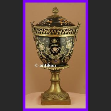 Ręcznie malowana królewska waza pot pourri z brązem
