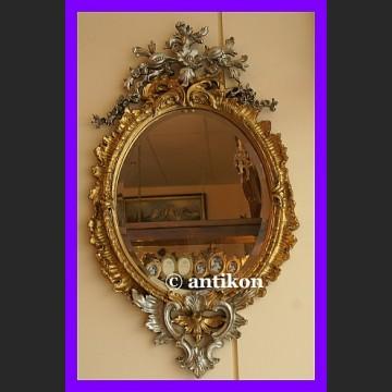 Pałacowe lustro retro złocona rama z dodatkiem srebra