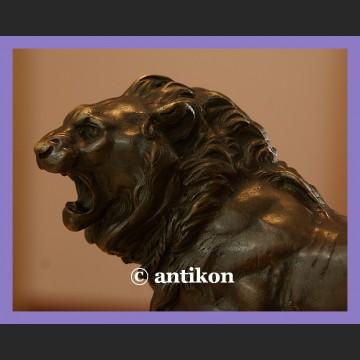 Rzeźba prawdziwy brąz waleczny lew duża sygnowana