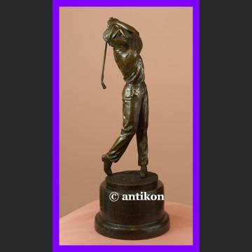 Golfista golf piękna duża rzeźba sygnowany brąz