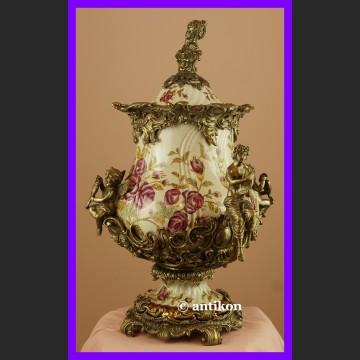Ogromna królewska waza okuta w brąz cudne róże
