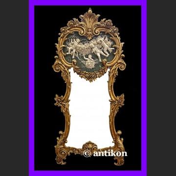 Stylowe lustro wysokie duże ze wspaniałym reliefem pałacowa złocona rama