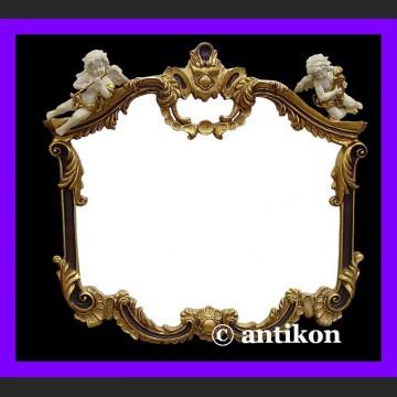 Stylowe lustro duże z pięknymi aniołkami w złoconej ramie