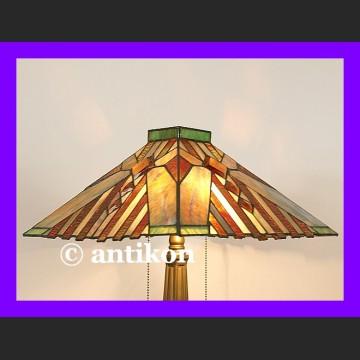 Duża salonowa witrażowa lampa Tiffany z pięknymi kaboszonami