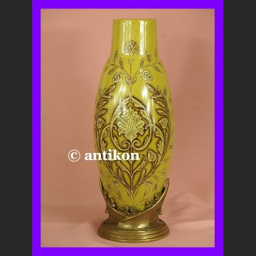 Znakomity duży secesyjny wazon okuty w brąz sygn.