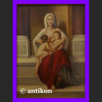Obraz olejny na desce Miłosierdzie Madonna piękny w złoconej ramie