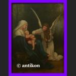 Madonna i Dzieciątko świetny duży obraz złota rama