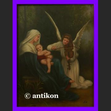 Obraz olejny Anielska pieśń Madonna piękny olej w złotej ramie