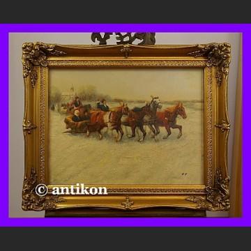 Obraz olejny Sanna Litewska złocona rama