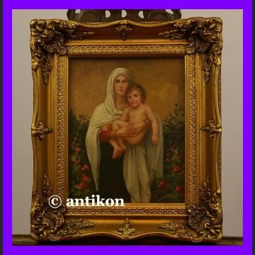 Madonna z Jezusem śliczny obraz w złotej ramie