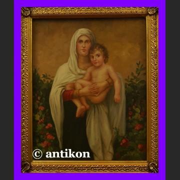 Obraz religijny w złotej ramie Madonna z Jezusem śliczny