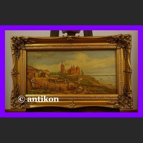 Widok na miasto piękny obraz złota gruba rama