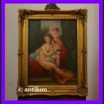 Wenus i Amorek duży obraz olej cudna złocona rama