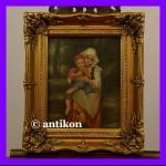 Dwie siostry prześliczny obraz w złoconej ramie