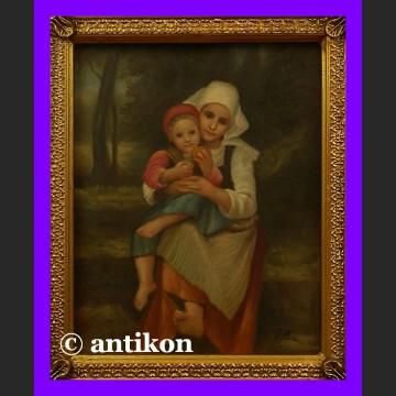 Obraz olejny w złoconej ramie Dwie siostry prześliczny