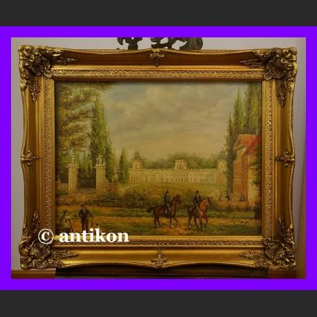 Pałac w Wilanowie piękny duży obraz złoconej ramie