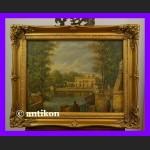 Pałac w Łazienkach znakomity obraz w złotej ramie