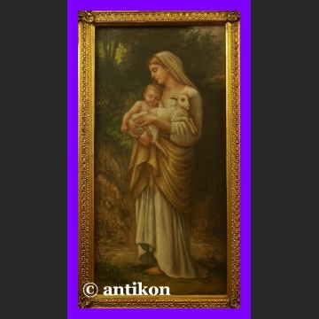Obraz olejny Madonna z Dzieciątkiem i owieczką złocona rama