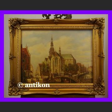 Amsterdam śliczny duży obraz olejny w złotej ramie