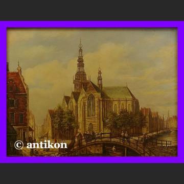 Obraz olejny Stary Amsterdam piękny olej w drewnianej ramie