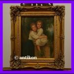 Urocze siostry piękny obraz w złotej ramie
