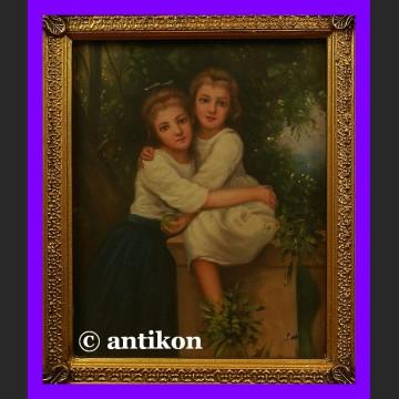 Obraz olejny w złotej ramie Urocze siostry piękny