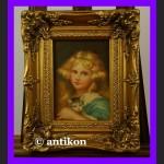 Dziewczyna z kotem cudo obraz złota gruba rama