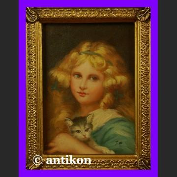 Obraz olejny piękne malowidło Dziewczyna z kotem
