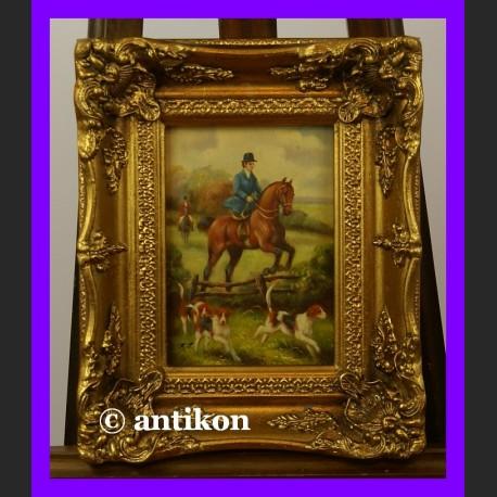 Amazonka na koniu wspaniały obraz złocona rama