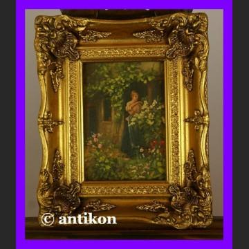 Obraz olejny w bogatej ramie Alicja w ogrodzie