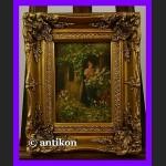 Alicja w ogrodzie świetny obraz złocona rama