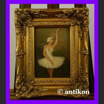 Zwiewna baletnica obraz złocona płatkowo rama