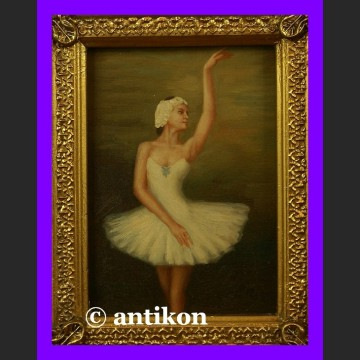 Obraz olejny w złoconej płatkowo ramie Zwiewna baletnica